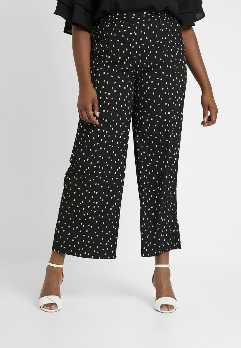 CAPSULE by Simply Be - WIDE LEG TROUSERS SPOT PRINT - Stoffhose - black/ivory