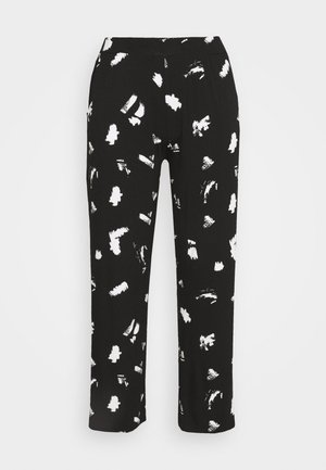 MONO PRINT WIDE LEG TROUSERS LONG - Pantaloni - black/ivory
