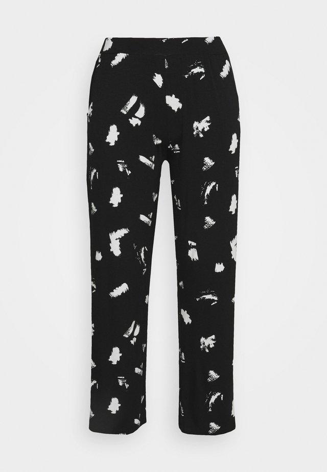 MONO PRINT WIDE LEG TROUSERS LONG - Trousers - black/ivory