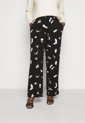 MONO PRINT WIDE LEG TROUSERS LONG - Trousers - black/ivory