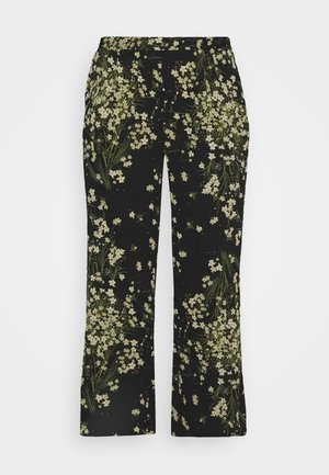 CREPE WIDE LEG TROUSERS PRINTED - Bukse - black/green