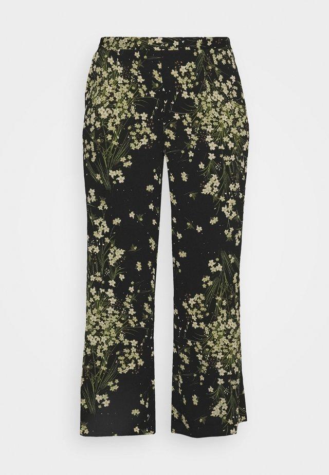 CREPE WIDE LEG TROUSERS PRINTED - Trousers - black/green