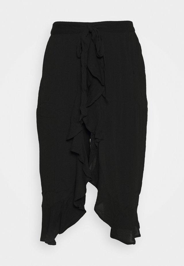 CRINKLE WRAP CROP TROUSER - Tygbyxor - black