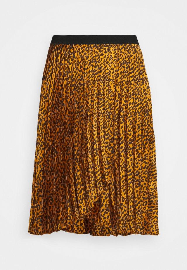 ANIMAL PRINT WRAP FRONT PLEATED SKIRT - A-line skirt - tan/black