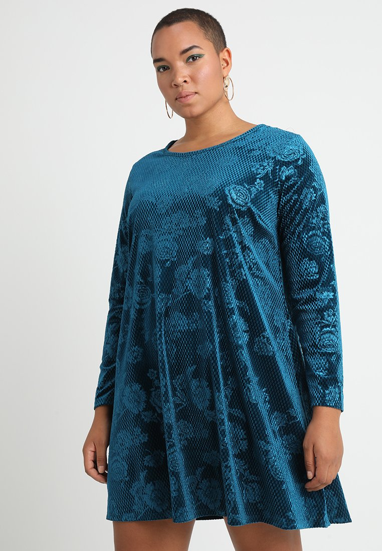 CAPSULE by Simply Be - EMBOSSED SWING DRESS - Hverdagskjoler - teal