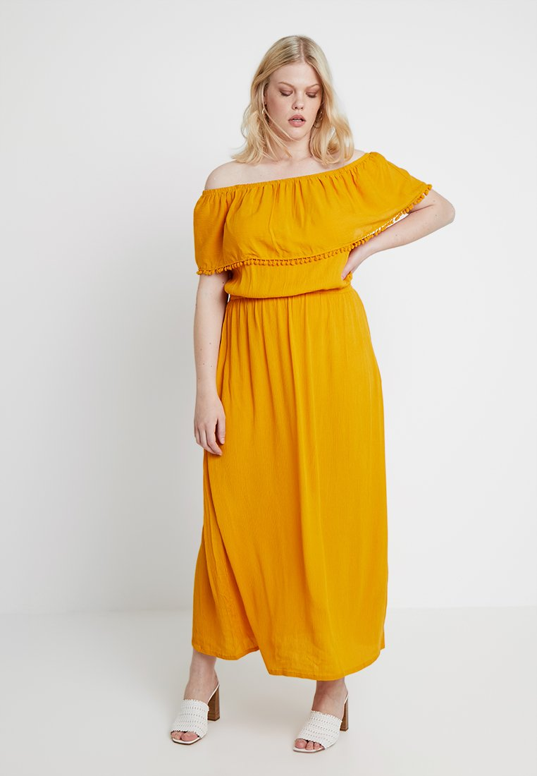 CAPSULE by Simply Be - CRINKLE POM POM TRIM - Robe longue - saffron