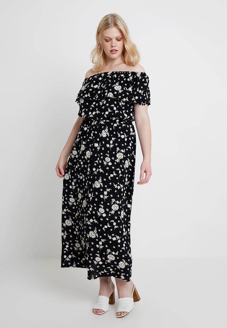 CAPSULE by Simply Be - CRINKLE POM POM TRIM - Maxi dress - black