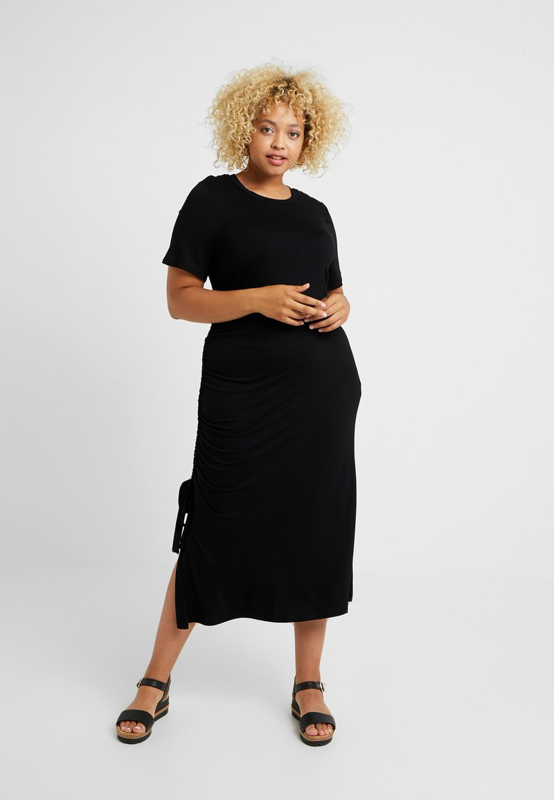 CAPSULE by Simply Be - RUCHED SIDE DRESS - Vapaa-ajan mekko - black