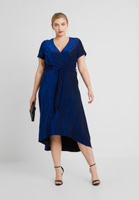 CAPSULE by Simply Be - GLITTER WRAP SKATER DRESS - Cocktailklänning - cobalt - 2