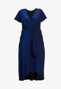 CAPSULE by Simply Be - GLITTER WRAP SKATER DRESS - Cocktailklänning - cobalt - 5