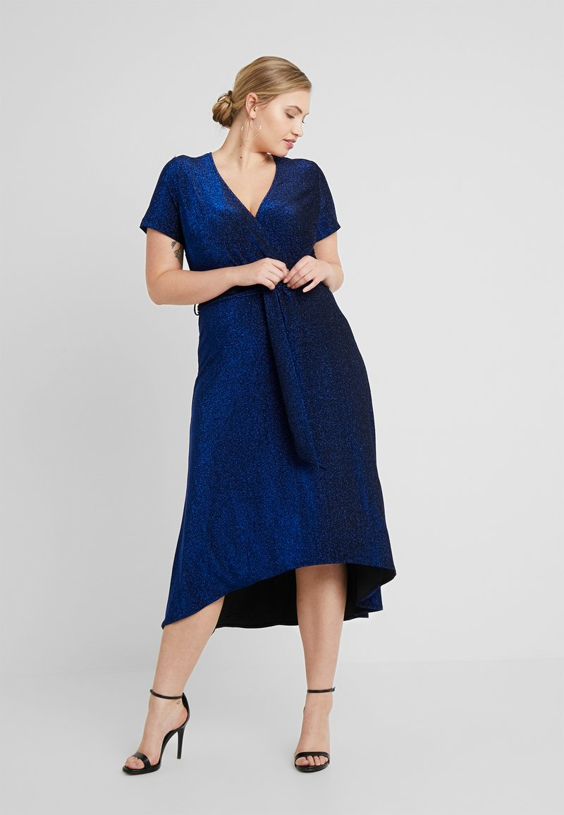 CAPSULE by Simply Be - GLITTER WRAP SKATER DRESS - Cocktailklänning - cobalt