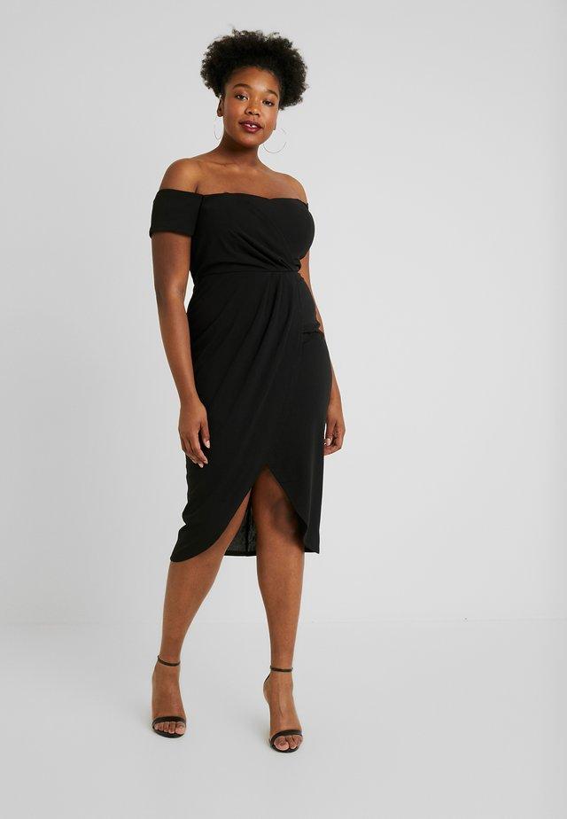 BARDOT WRAP MIDI DRESS - Pouzdrové šaty - black