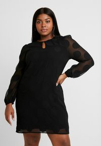 CAPSULE by Simply Be - DOBBY SPOT SHIFT DRESS - Denní šaty - black - 0