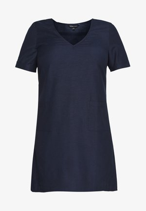 SHORT SLEEVE V NECK SHIFT DRESS - Vestido informal - navy