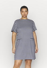 CAPSULE by Simply Be - POCKET DETAIL  DRESS - Robe en jersey - navy/white - 0