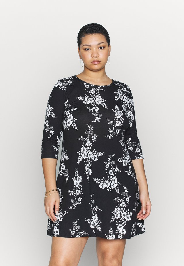 DIPPED HEM SWING DRESS - Jerseyjurk - black/white