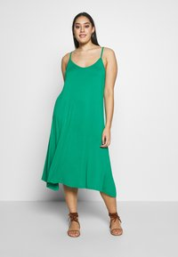 CAPSULE by Simply Be - MIDI CAMI DRESS 2 PACK - Day dress - black based palm print & green solid - 1