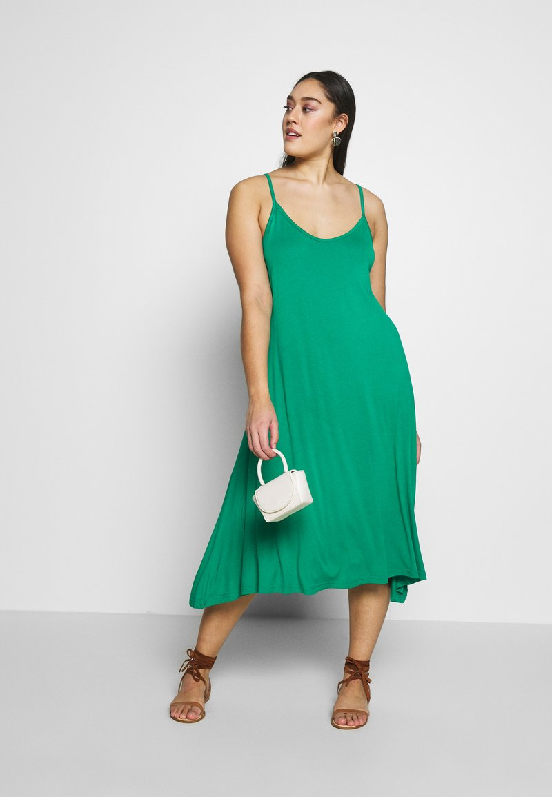 CAPSULE by Simply Be - MIDI CAMI DRESS 2 PACK - Day dress - black based palm print & green solid