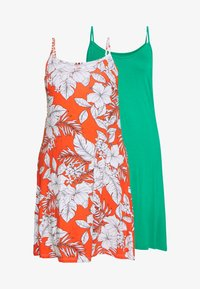 CAPSULE by Simply Be - MIDI CAMI DRESS 2 PACK - Day dress - black based palm print & green solid - 4