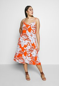 CAPSULE by Simply Be - MIDI CAMI DRESS 2 PACK - Day dress - black based palm print & green solid - 3