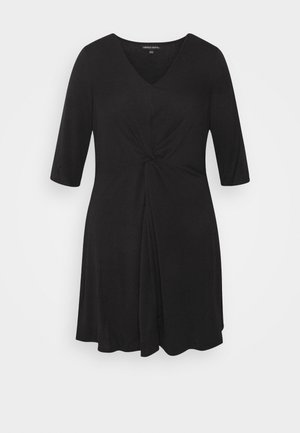 TWIST FRONT SWING DRESS - Žerzejové šaty - black