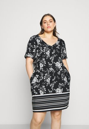 SHORT SLEEVE V NECK SHIFT DRESS - Day dress - mono
