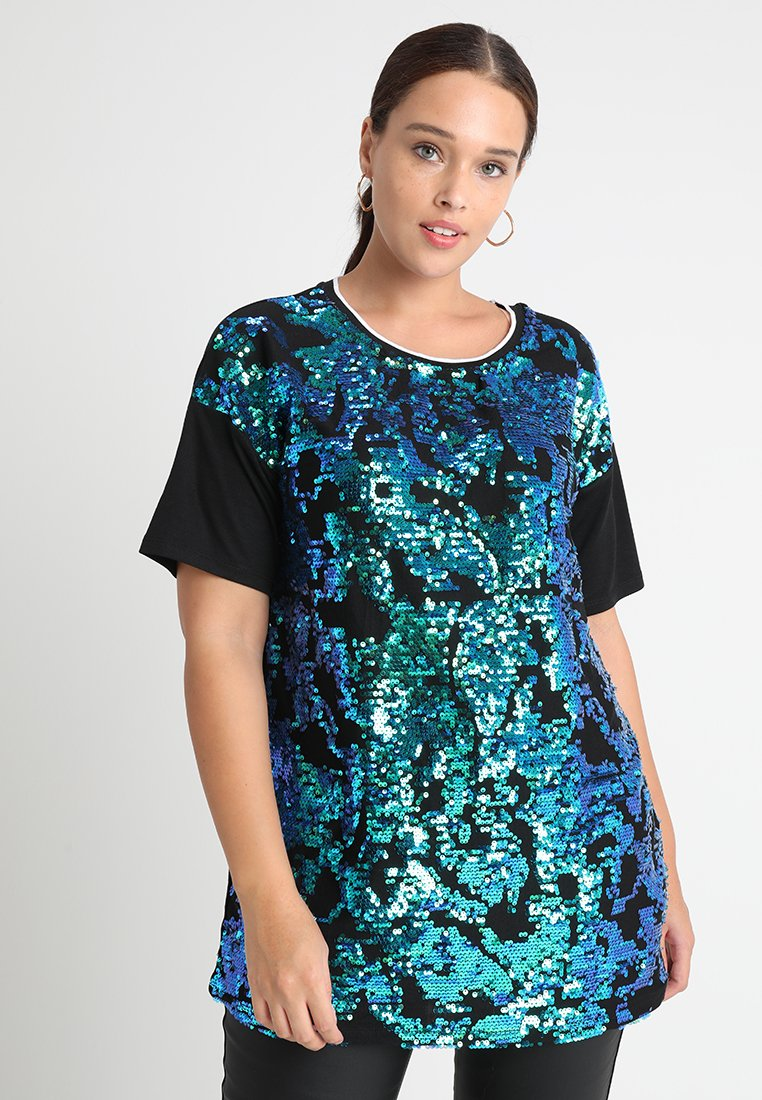 CAPSULE by Simply Be - ALL OVER SEQUIN FRONT  - T-shirts print - black /green