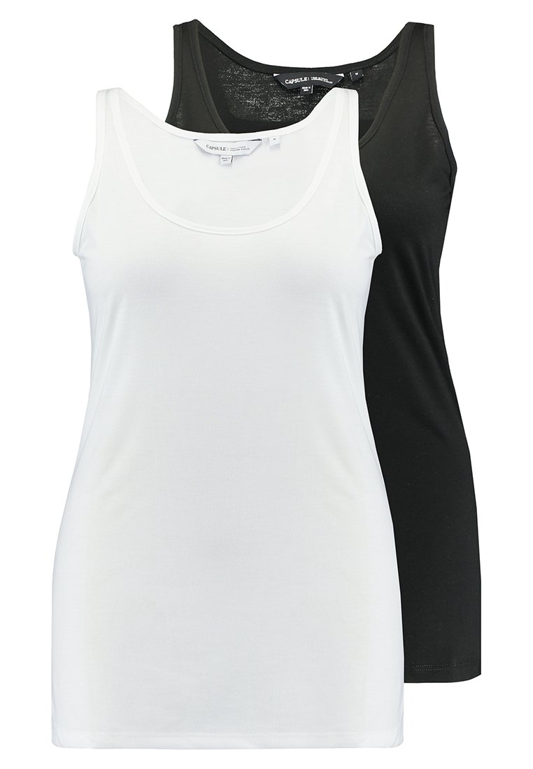 CAPSULE by Simply Be - LONGLINE VESTS 2 PACK - Toppe - black/white