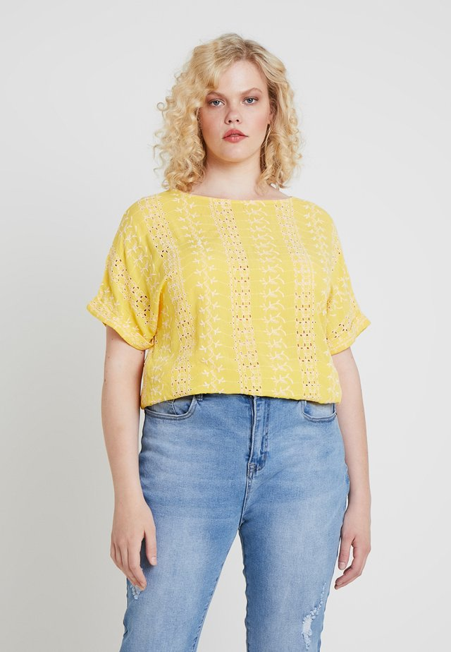 BRODERIE BOXY - T-Shirt print - yellow/ivory