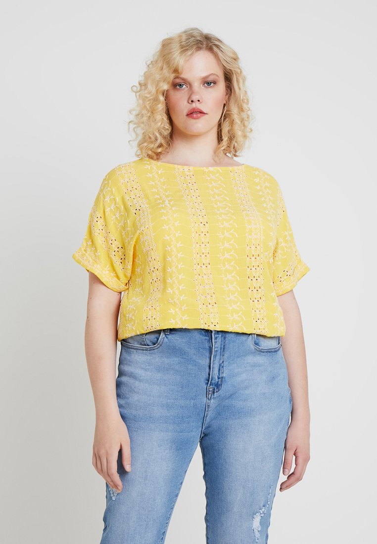 CAPSULE by Simply Be - BRODERIE BOXY - Printtipaita - yellow/ivory