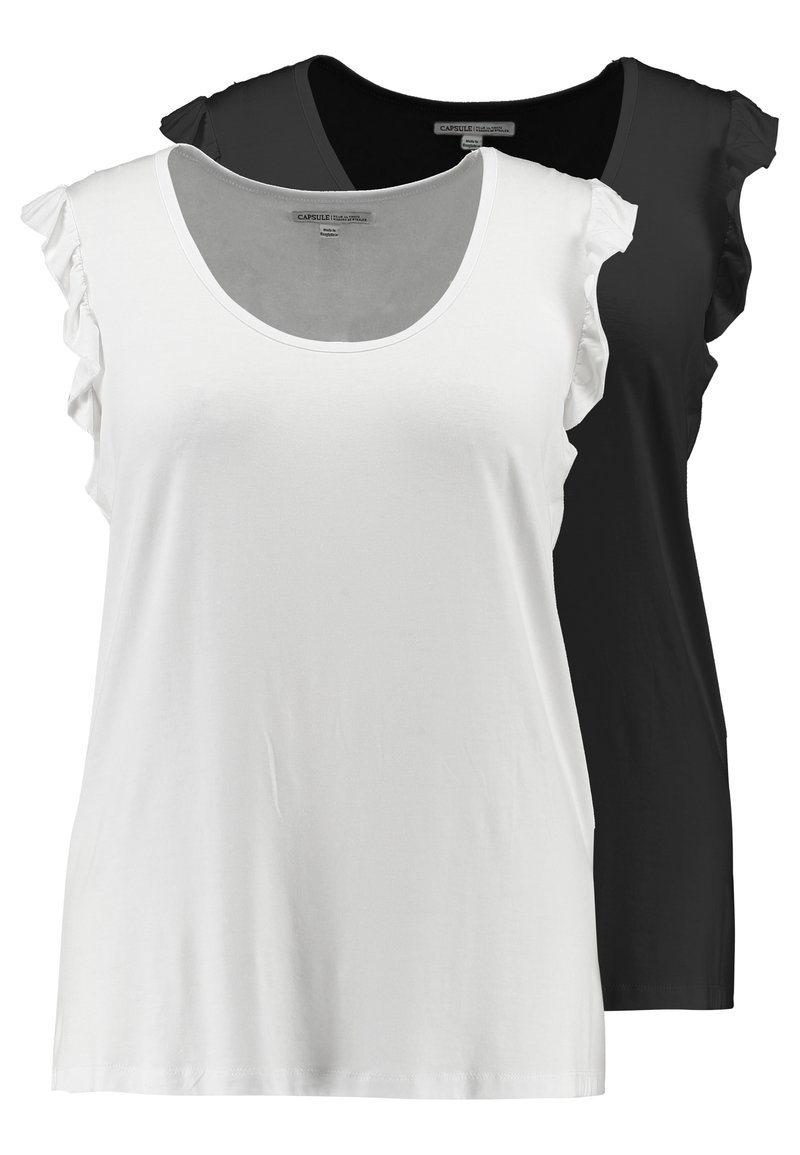 CAPSULE by Simply Be - SLEEVELESS RUFFLE 2 PACK - T-shirt con stampa - black/white