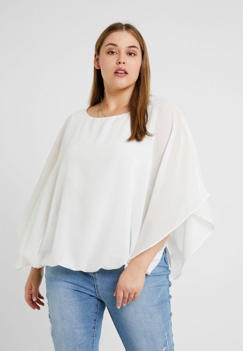 CAPSULE by Simply Be - BUBBLE OVERLAY BLOUSE - Långärmad tröja - ivory