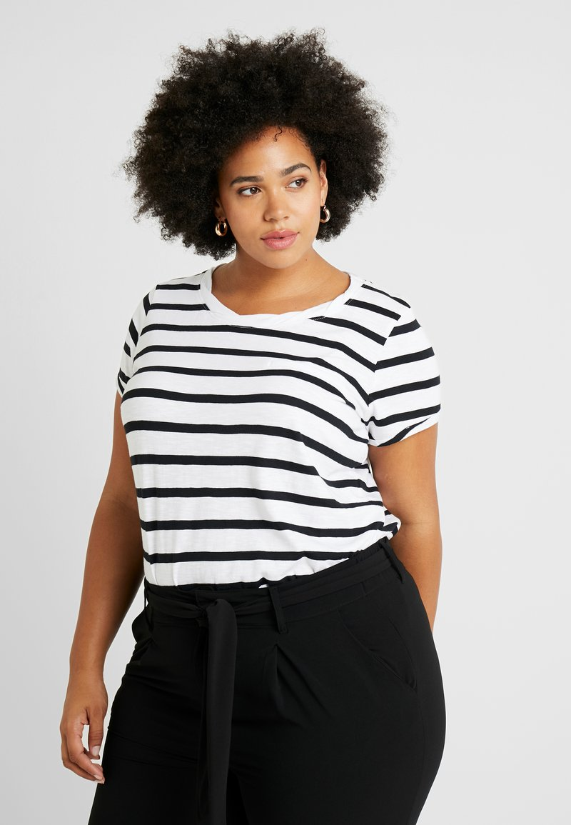 CAPSULE by Simply Be - BLOCK STRIPE - T-Shirt print - white/black