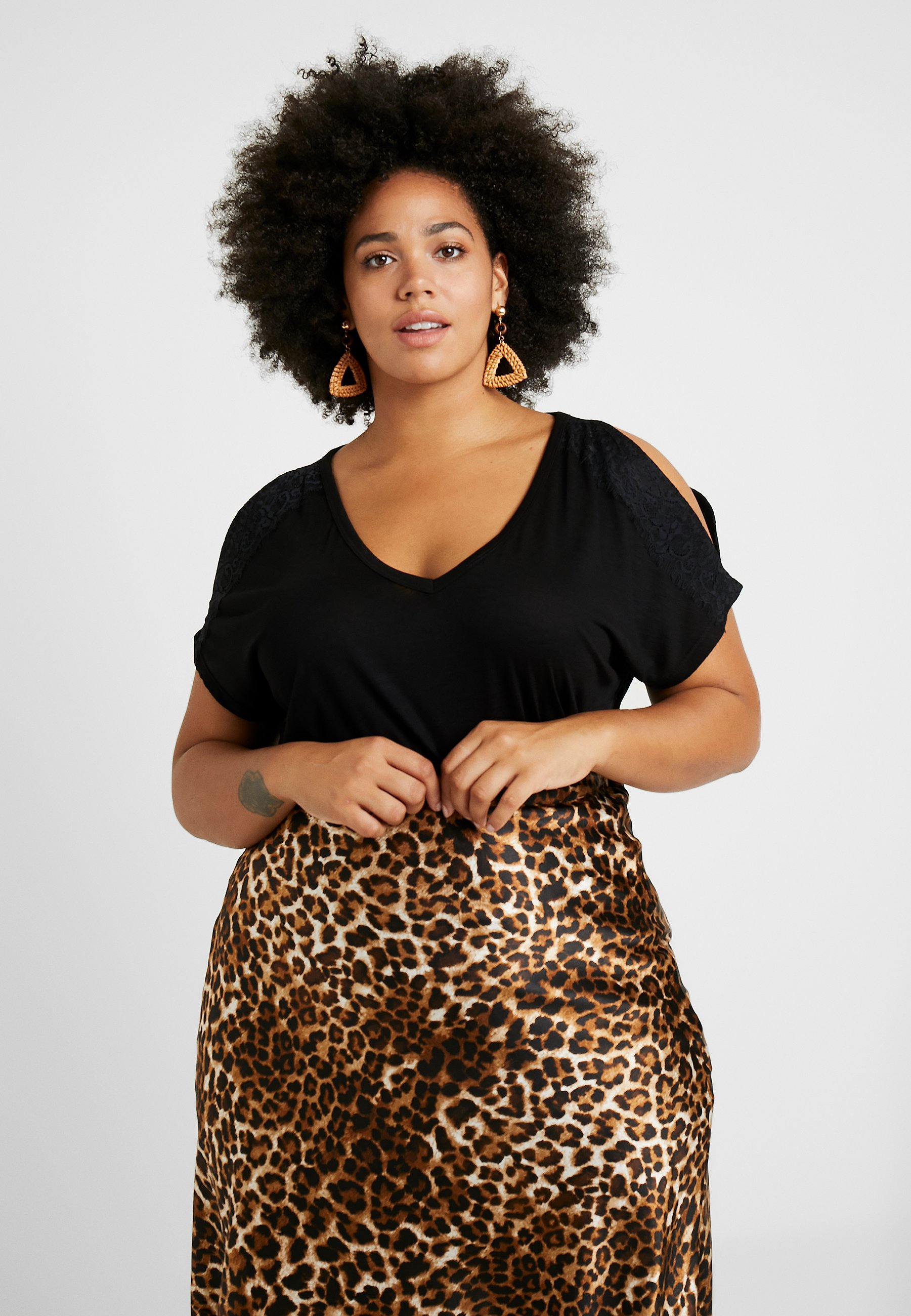 Black By shirt Capsule SleeveT Shoulder Split Imprimé Simply Be QCtxhBsrd