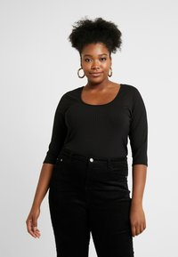 CAPSULE by Simply Be - LACE UP BACK - T-shirts med print - black - 0