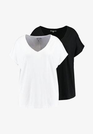 V NECK 2 PACK - Printtipaita - black/white