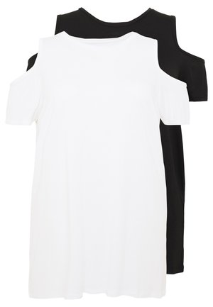 COLD SHOULDER 2 PACK - T-paita - black/white