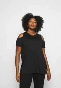 CAPSULE by Simply Be - COLD SHOULDER 2 PACK - T-shirts - black/white