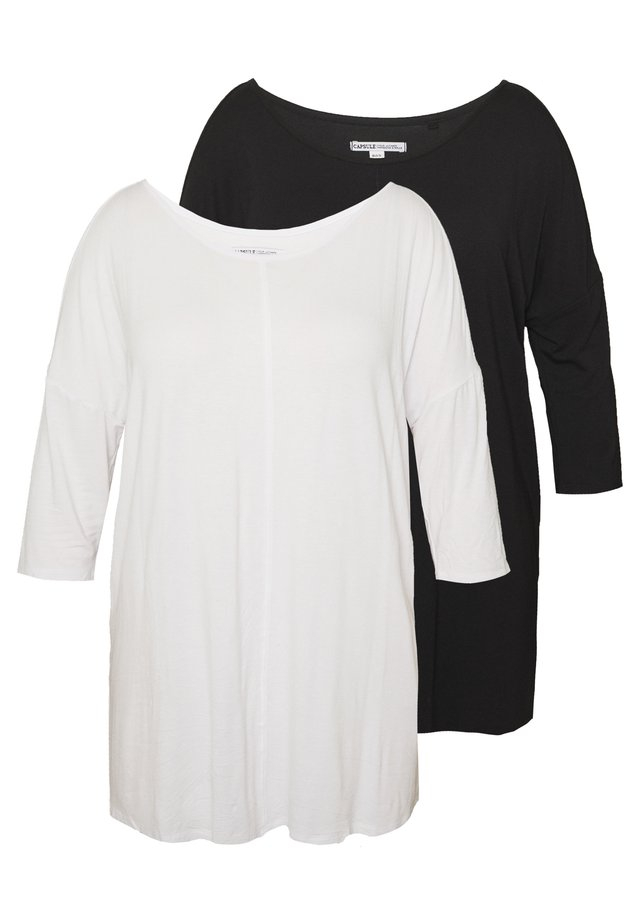 COLD SHOULDER 2 PACK  - Top s dlouhým rukávem - black/white