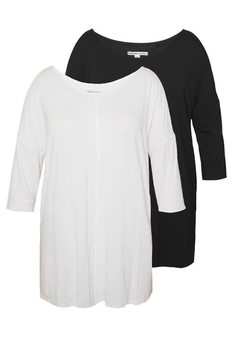 CAPSULE by Simply Be - COLD SHOULDER 2 PACK  - Camiseta de manga larga - black/white