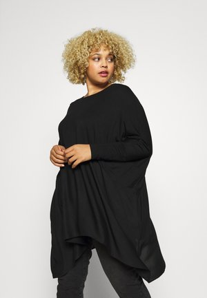 COLOUR BLOCK HANKY HEM TUNIC - Longsleeve - black
