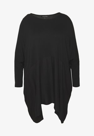 COLOUR BLOCK HANKY HEM TUNIC - Long sleeved top - black