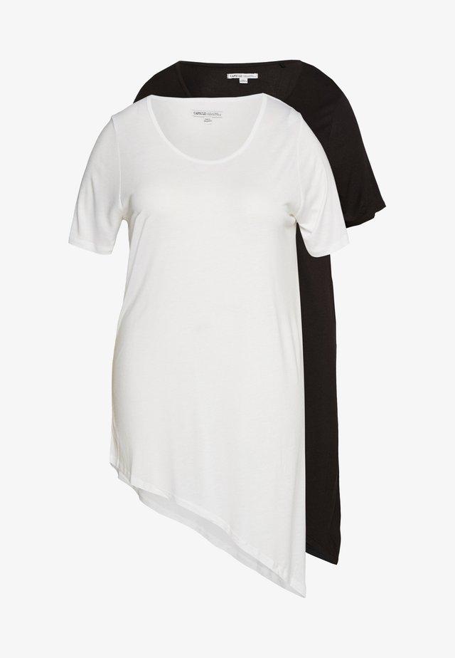ASYMMETRIC TOP PACK 2  - T-shirt basic - black /white