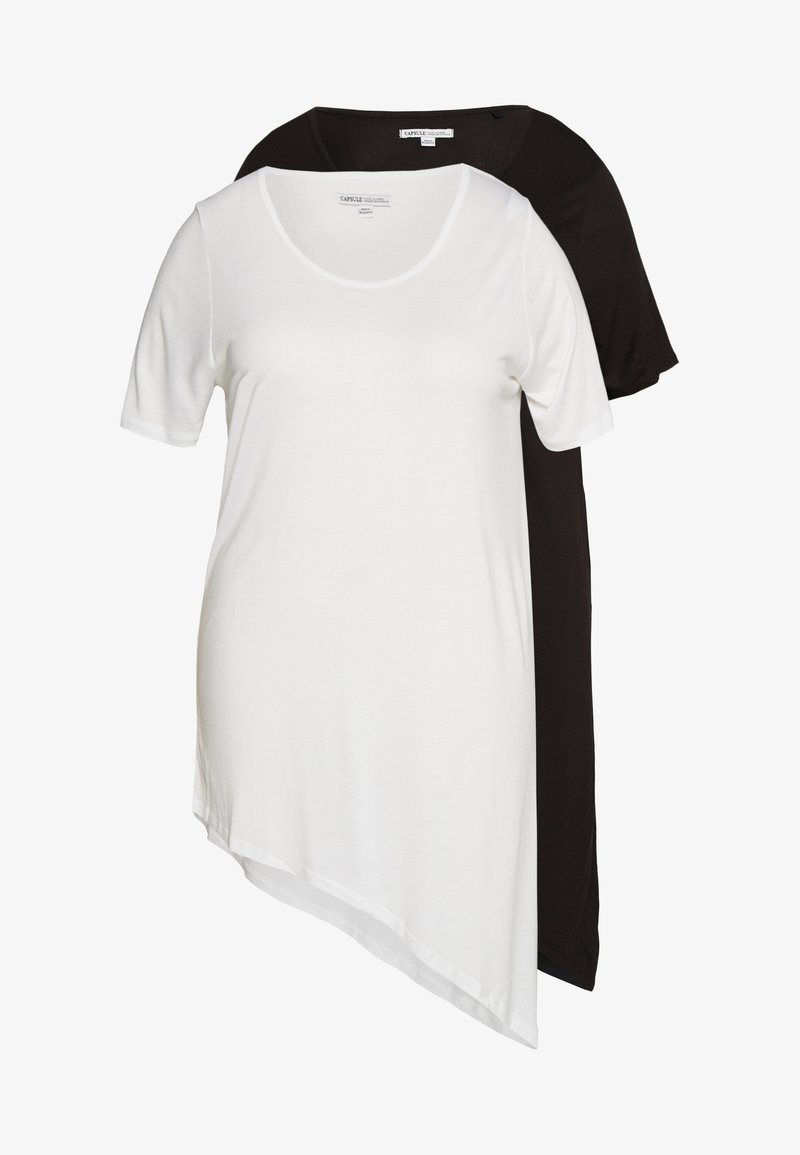 CAPSULE by Simply Be - ASYMMETRIC TOP PACK 2  - Basic T-shirt - black /white