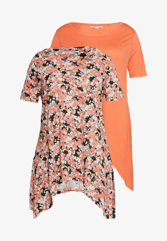 SHORT SLEEVE HANKY HEM 2 PACK - T-shirt con stampa - coral