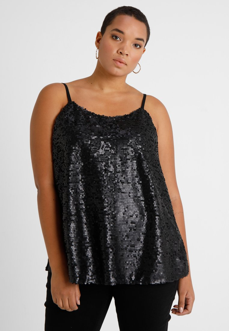 CAPSULE by Simply Be - SEQUIN FRONT CAMI CYBER - Blouse - black