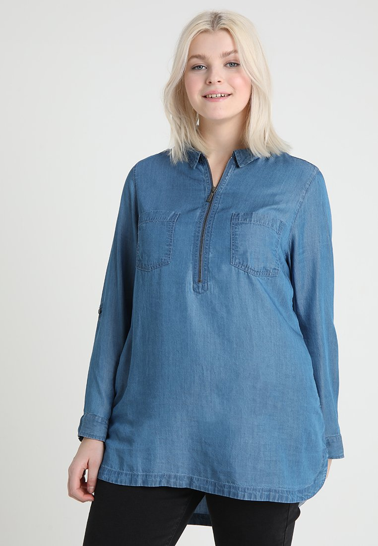 CAPSULE by Simply Be - ZIP FRONT TUNIC - Blouse - mid blue