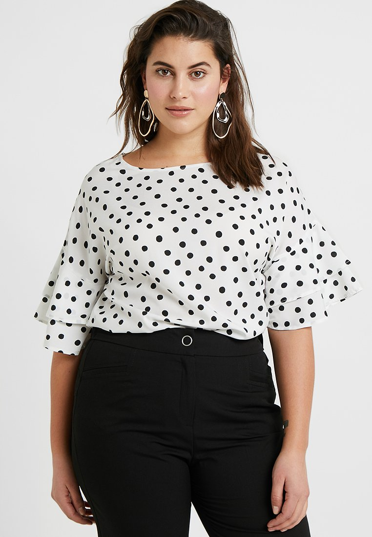 CAPSULE by Simply Be - FLUTED SLEEVE BOXY - Bluser - white