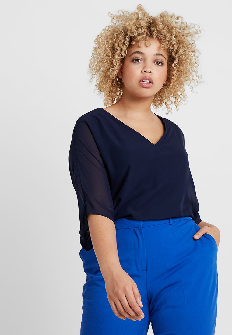 CAPSULE by Simply Be - V NECK BLOUSE - Blouse - blue