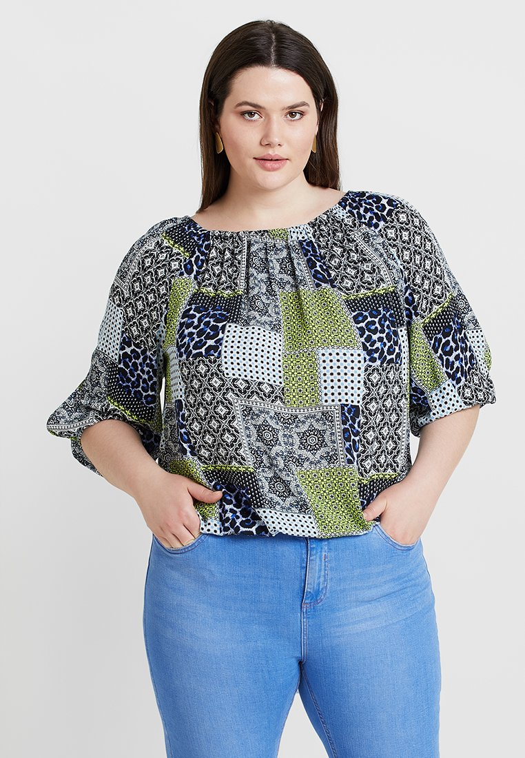 CAPSULE by Simply Be - PEASANT BUBBLE HEM - Blusa - multicoloured